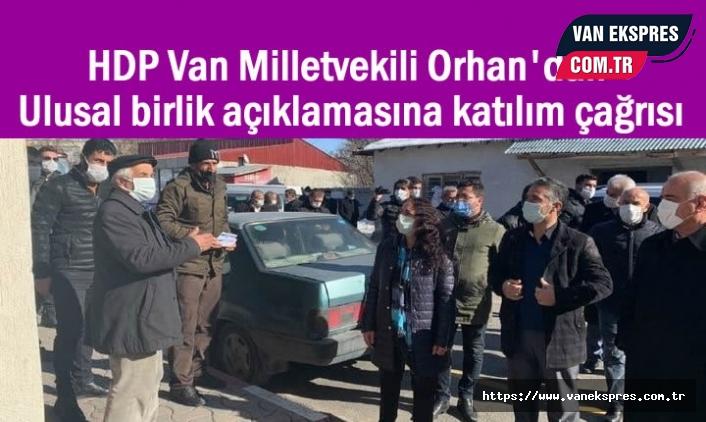HDP'li Orhan'dan ulusal birlik açıklamasına katılım çağrısı