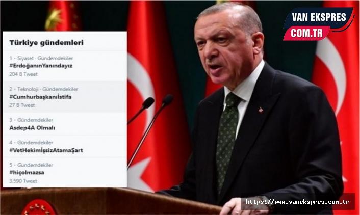 Erdoğan'ın açıklaması sonrası 'Cumhurbaşkanıİstifa' TT oldu