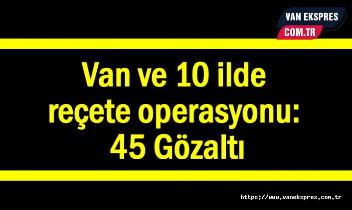 Van ve 10 ilde reçete operasyonu: 45 Gözaltı