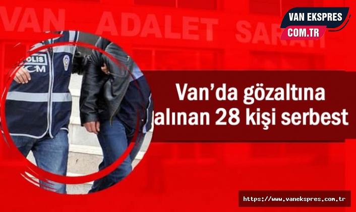 Van'da gözaltına alınan 28 kişi serbest