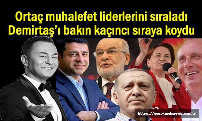 Ortaç muhalefet liderlerini sıraladı Demirtaş kaçıncı sırada