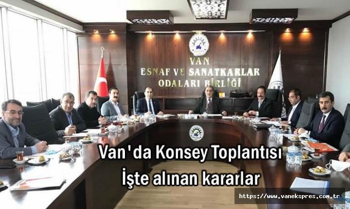 Van Ekonomi Konseyi Toplandı İşte alınan kararlar