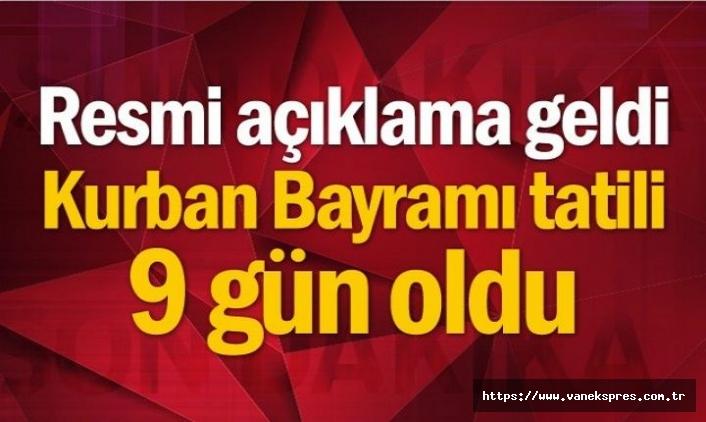 Cumhurbaşkanı Erdoğan Açıkladı: Bayram tatili 9 gün