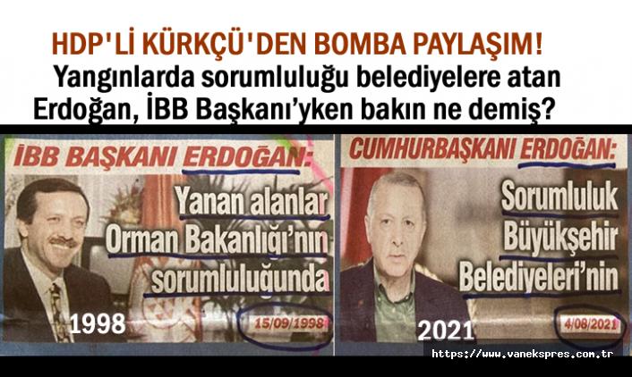 """HDP'li Kürkçü'den bomba """"Erdoğan"""" paylaşımı"""