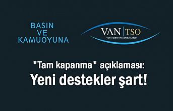 Van TSO: Yeni destekler şart!