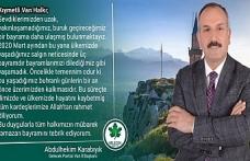 Gelecek Partisi Van İl Başkanı Karabıyık'tan Bayram Mesajı