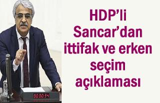 HDP'li Sancar'dan ittifak ve erken seçim açıklaması