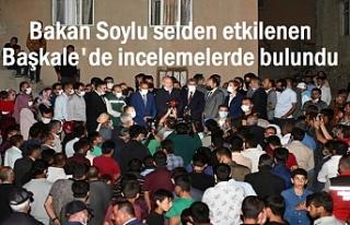 Bakan Soylu sel bölgesi Esenyamaç'ta incelemelerde...