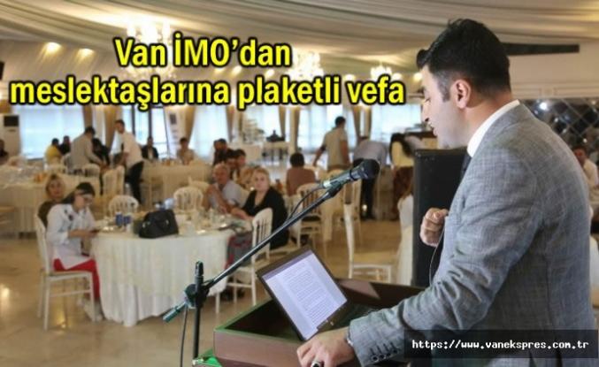 Van İMO'dan meslektaşlarına plaketli vefa